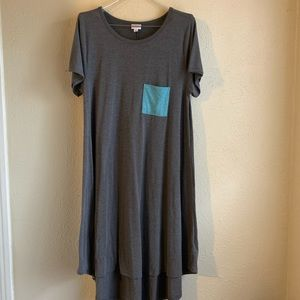 LULAROE CARLY Hi-Lo Swing Pocket Dress Gray XL